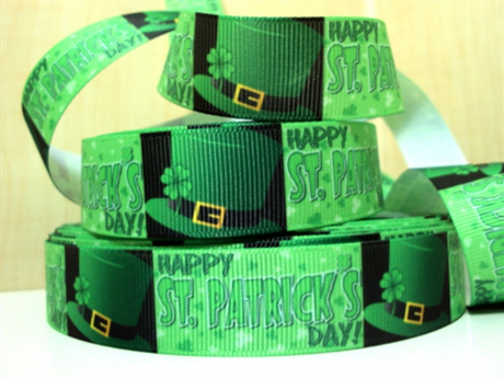 1M HAPPY ST PATRICKS DAY GREEN HAT RIBBON IRELAND SIZE 7/8 PERFECT FOR HAIR BOWS